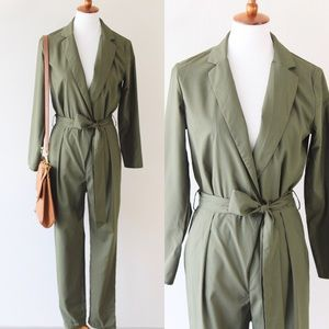 Pants - Long sleeve jumpsuit in olive